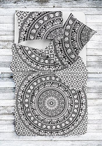 Black-White-BW-Elephant-Mandala-Tapestry-Bohemian-Hippie-Gypsy-Twin-Duvet-Cover-by-Bohomandala