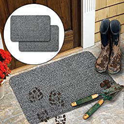 2pk Dirt Free Doormats For Entrance Way Indoor Outdoor Absorbent Rubber Welcome
