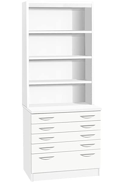 Home Office Furniture UK A2 Plan Chest Architect Chart Maps Drawing Cabinet, Wood, White, satin Profile, 2-Piece