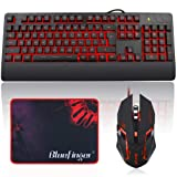 BlueFinger 3 in 1 Gaming Keyboard Mouse Set,LED Backlit Keyboard and Mouse Combo,USB Wired Keyboard with Ergonomic Wrist Rest for Game and Work - Keyboard Mouse Mouse Pad Black Set (Color: Keyboard Mouse Mouse Pad Black Set)