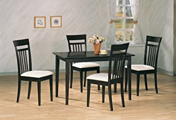 5pc Contemporary Cappuccino Finish Wood Dining Table & 4 Chairs Set