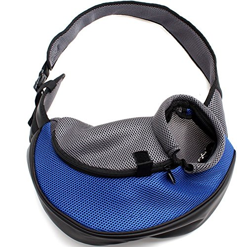 Petown Portable Soft Pet Carrier Shoulder Bag for Dogs and Cats (Blue Small Size)