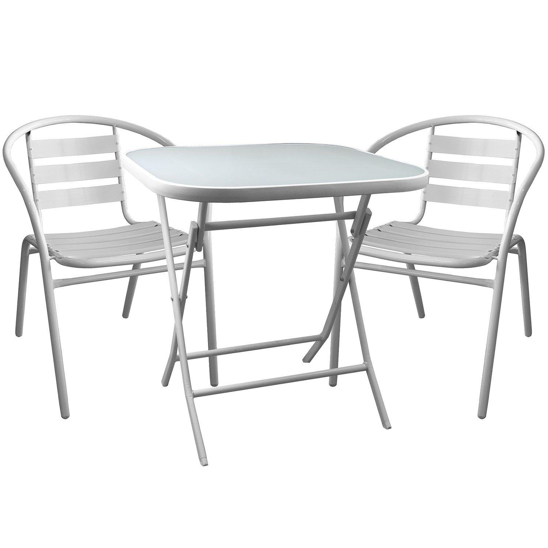 3tlg. Bistrogarnitur klappbarer Glastisch 70x70cm + 2x Gartenstühle Gartengarnitur Sitzgruppe Sitzgarnitur Weiß