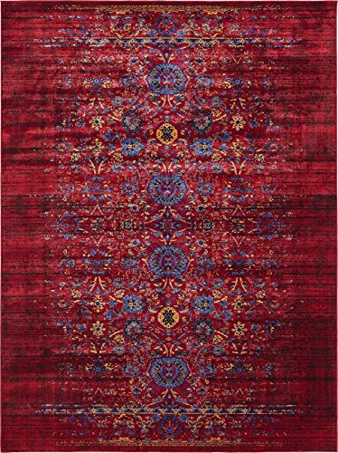 Vintage Contemporary Inspired Overdyed Distressed Rugs Burgundy 8 X 10 Chelsea Rug Traditional Area Living Room Bedroom Dining Carpet