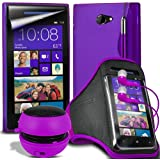 (Purple)Fone-Case HTC Windows 8X Protective Hydro S Line Wave Gel Silicone Skin Case Cover With Mini Capacative Retractable Stylus Pen, 3.5mm In Ear Earphones, Mini Rechargeable Capsule Speaker, Jogging Sports Armband & LCD Screen Protector Guard