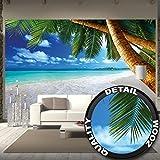 Papel pintado fotogr�fico de una playa con palmeras y el mar - Fotomural de playa paradisiaca con palmeras -Playa decoraci�n mural XXL 336 cm x 238 cm