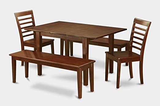 East West Furniture PSML5D-MAH-W 5-Piece Kitchen Table Set