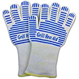 Kevlar Nomex Cooking Gloves ✮ Firefighter-Level Extreme Heat Resistance (Up to 932°) ✮ Flexible, Light Weight, Grill Master's Choice, w/ Silicone NoSlip Grips ✮ Tier One Baking & BBQ Kitchen Accessories