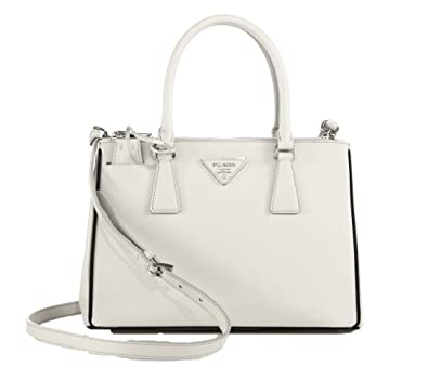 Prada Saffiano Lux Small Double-Zip Tote, Talco / Nero: Handbags ...