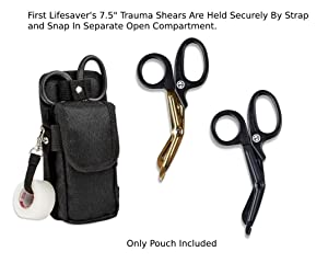 First Lifesaver Trauma Shears Holster with Tactical EMT Belt Tool Pouch (Color: Black, Tamaño: 7.75 x 3.75 x 1.5)