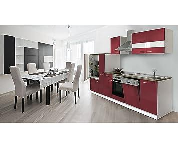 respekta k chenzeile 310 cm wei rot ceran mit apl nussbaum nachbildung kb310wrc da599. Black Bedroom Furniture Sets. Home Design Ideas