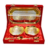 Gold & Silver Plated Brass Bowl Set Of 5 Pcs With Box Packing - B00SF0CTAG