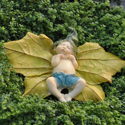 Miniature Fairy Garden Leaf Baby With Pants front-688424