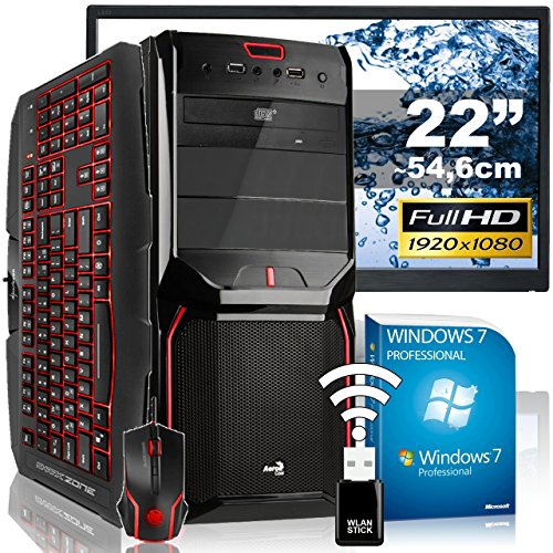 "AGANDO High-End Gaming PC-Komplettpaket | Intel Core i5 4690 4x 3.5GHz | Turbo 3.9GHz | AMD Radeon R9 380X 4GB OC | 8GB RAM | 240GB SSD | 1000GB HDD | DVD-RW | USB3.0 | 55cm (22"") TFT 