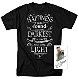 Harry Potter Dumbledore Happiness Quote T Shirt & Exclusive Stickers (Large) (Color: Black, Tamaño: Large)