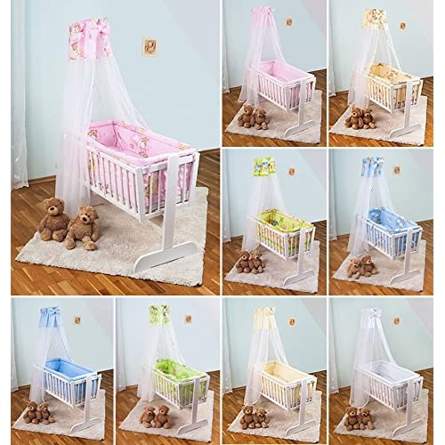 7 PIECE BABY CRIB BEDDING SET (Fits Rocking   Swinging Crib   Cradle 90x40cm) - On Ladders Pink