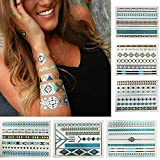 8 Styles & 8 Sheets Pack, Metallic Removable Waterproof Temporary Flash Tattoo Pattern & Golden Bling Glitter Tattoo Stickers Body Art Sex Products For Girls And Guys.