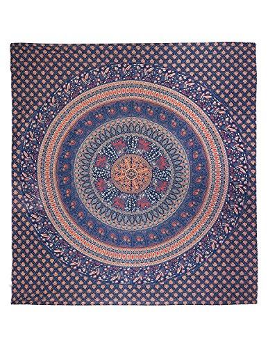 Sunshine Joy Traditional Indian Elephant & Peacock Circle Tapestry Blue , Orange & Red front-1024128