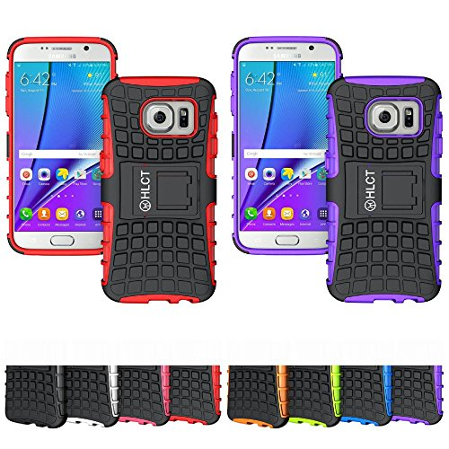 2 Galaxy S7 Cases, HLCT TWIN PACK Rugged Shock Proof Dual-Layer Case with Built-In Kickstand for Samsung Galaxy S7 (2016) (Purple Red) (Jbl Micro Wireless Red compare prices)