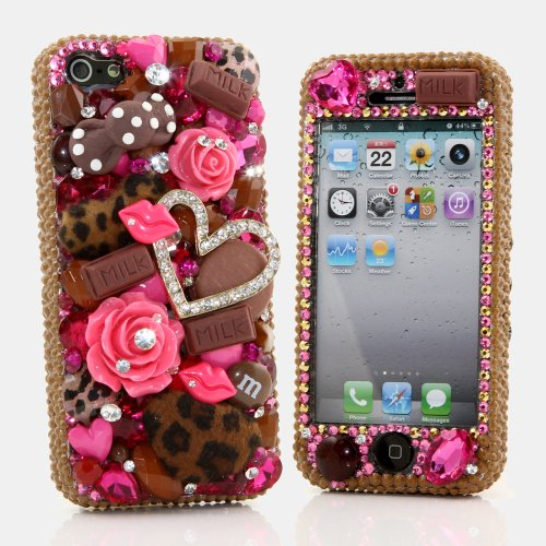 Special Sale BlingAngels® 3D Luxury Bling iphone 5 5s Case Cover Faceplate Swarovski Crystals Diamond Sparkle bedazzled jeweled Design Front & Back Snap-on Hard Case + FREE Premium Quality Stylus and Water-Resistant Bag (100% Handcrafted by BlingAngels) (Pearls Heart with Pink Flowers Chocolate Design)