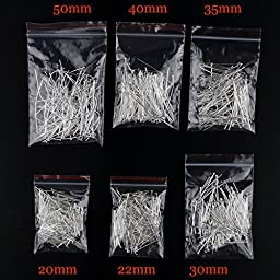 1053 Pcs Mixed Sizes Silver Plated Eye Pins Findings Head Pins, 2.1mm Hole, 0.7mm Thick, DIY Jewelry Making