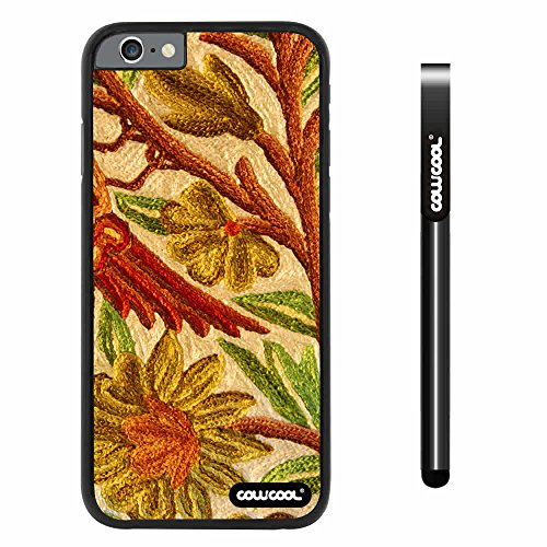 CowCool® Apple iphone 6 4.7 inch Case Hard Golden Flower Black Shell Single Layer Protective Case (Style2)