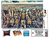 Fototapete New York City Skyline - Wandbild Dekoration Sonnenuntergang Manhattan Amerika USA Deko Big Apple NYC I Foto-Tapete Wandtapete Fotoposter Wanddeko by GREAT ART