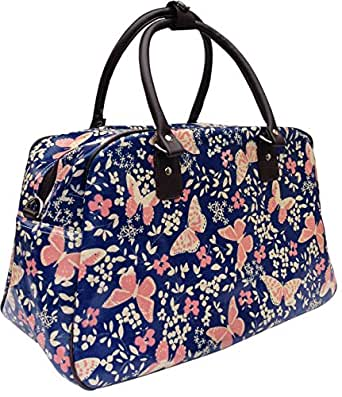 Gossip Girl - Oilcloth Holdall Weekend Overnight Bag Hand Luggage Cabin Bag 25L- Polka Dot Spot / Butterfly / Flower (Butterfly - Blue)