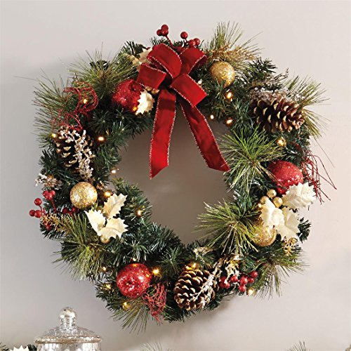 Brylanehome-Cordless-Led-Wreath-Green0