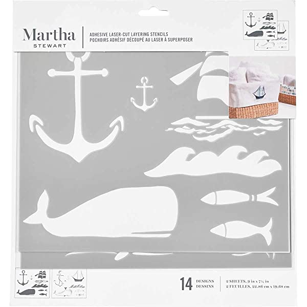 Martha Stewart 17635 Laser-Cut Layering Nautical Stencil, 2 Piece (Color: Not Applicable)