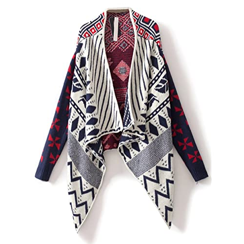 Sheinside Womens Navy Draped Collar Geo Tribal Pattern Open Cardigan