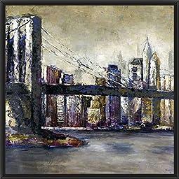 28in x 28in City Landmark II by Bridges - Black Floater Framed Canvas w/ BRUSHSTROKES