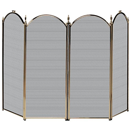 UniFlame 4-Fold Polished Brass Screen (Antique Fireplace Screen compare prices)