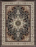 61 C%2BeNtYqL. SL160  Generations Traditional Isfahan Persian Area Rugs, 5 Feet 2 by 7 Feet 3, Black