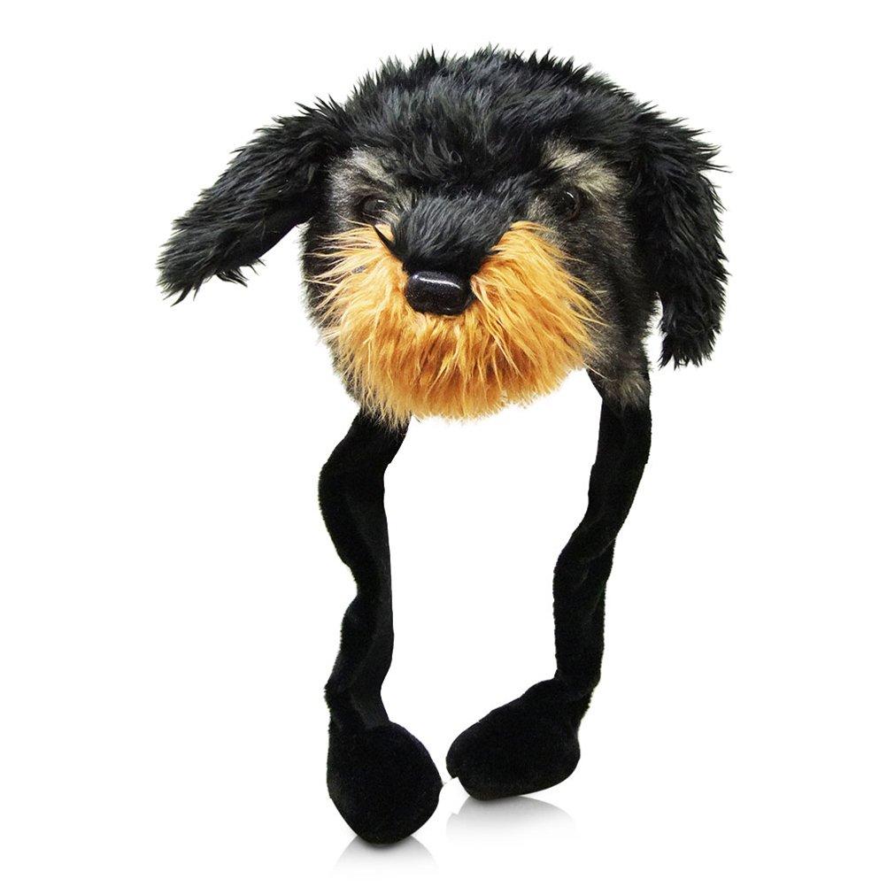 4 x Plüsch Mütze Dackel Dackelmütze Hund Hundemütze Tier Stofftiermütze 55 cm