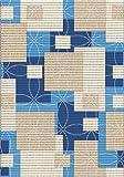 Weichschaummatte, Bodenbelag, Badläufer – Aquamat, blau-beige – Quadrate (564-2), 130cm breit (130x300cm)