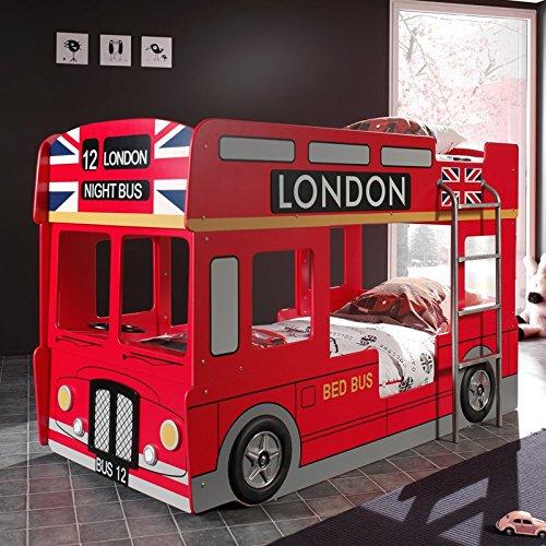 """Lit Superposé Enfant Bus """"Londres"""" Rouge"""