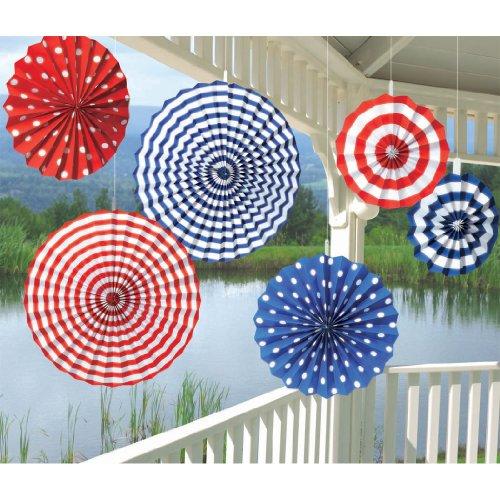 Online Stores, Inc. Patriotic Paper Fan Decorations