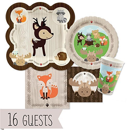 woodland-creatures-baby-shower-or-birthday-party-tableware-plates-cups-napkins-bundle-for-16