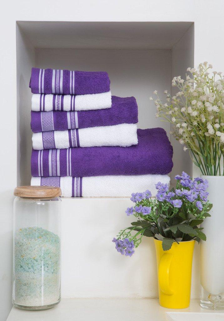 Spaces 6 Piece Cotton Towel Set - Purple and White Spaces