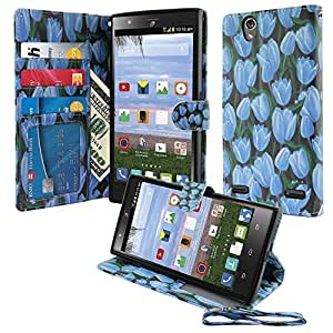 Nextkin ZTE Lever LTE Z936L Leather Wallet case Pouch, Fields Of Blue Tulips Built-in Card With TPU Gel Protector Cover Case Kickstand
