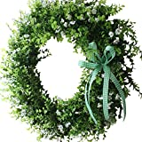 Spring Wreath with Green Leaves Little White Silk Flowers Home Decor