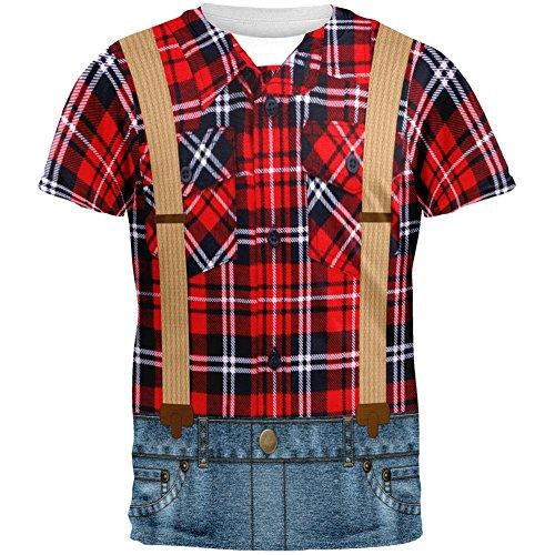 [Halloween Lumberjack Costume All Over Adult T-Shirt - Medium] (Mens Lumberjack Costumes)