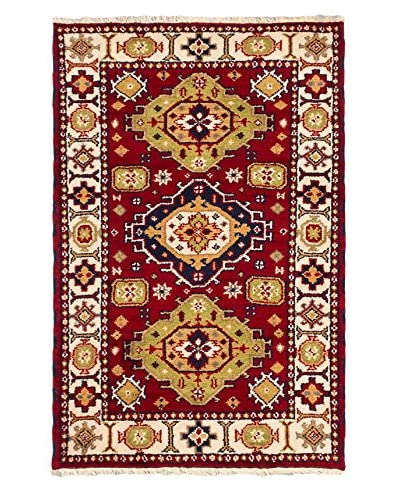 Hand-Knotted Royal Kazak Wool Rug, Red, 3' 2 x 4' 10
