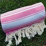 Rose Pink Turkish Towel Peshtemal - 100% Natural Dyed Cotton - for Beach Spa Bath Swimming Pool Hammam Sauna Yoga Pilates Fitness Gym Picnic Blanket (Dandelion Textile)