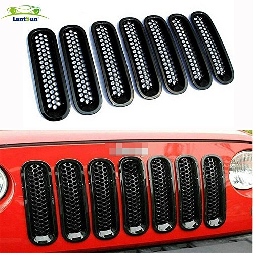 lantsun-black-front-billet-grille-mesh-insert-for-jeep-wrangler-jk-2007-2016-7-pcs-hj019g