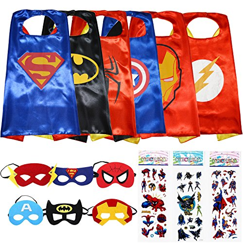 Superhero-Dress-Up-Costumes-6-Satin-Capes-and-6-Felt-Masks-Superhero-Party-Supplies
