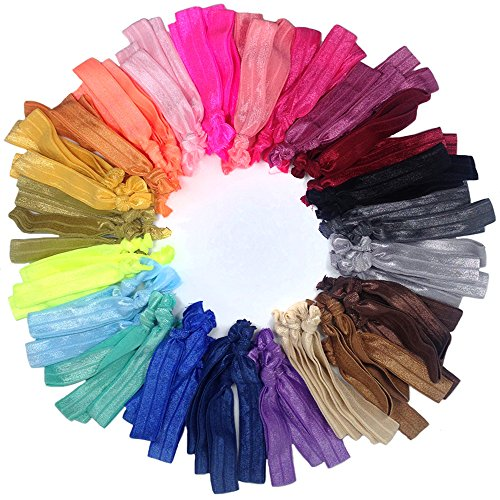 Hair Ties Ponytail Holders, No Crease Ouchless Knotted Large Elastic Hair Ribbons Hair Accessories Friendship Bracelet, J-MEE(100pcs) (Mixed Color) (Creaseless Hair Ties Fabric compare prices)
