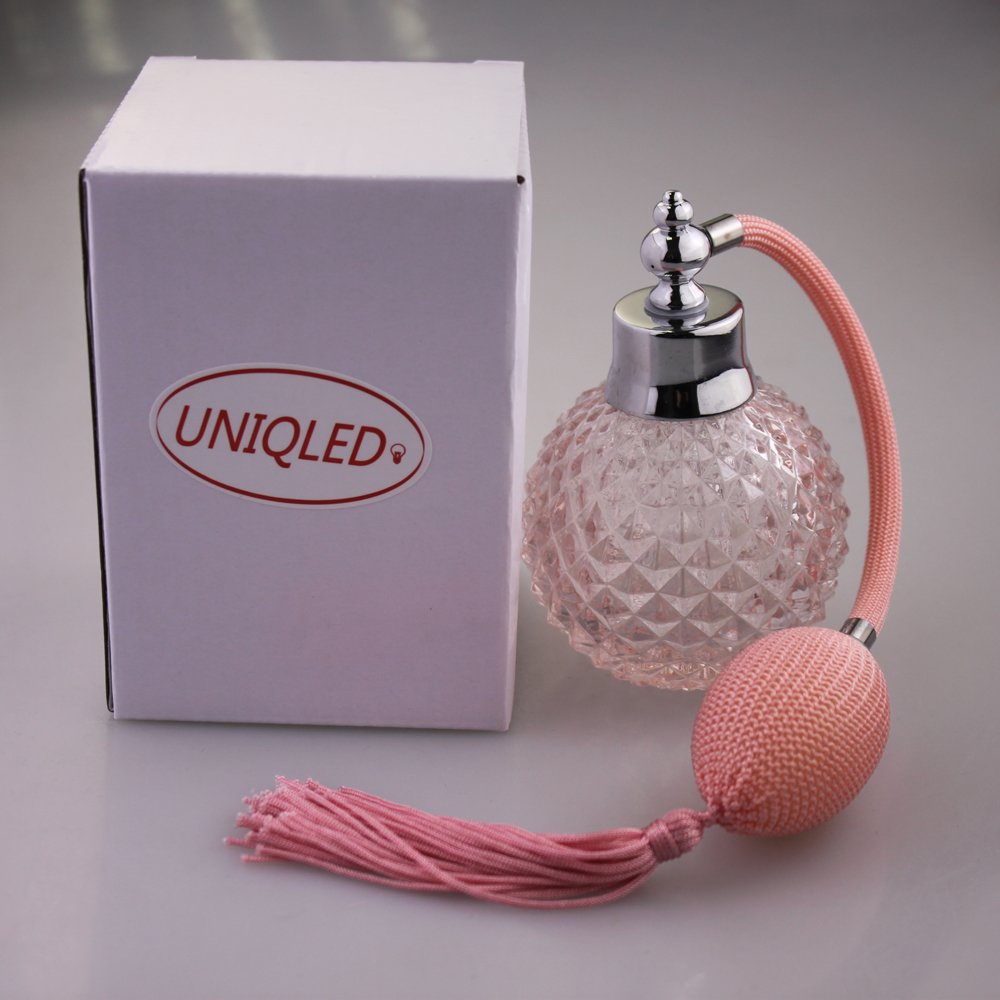UNIQLED Crystal Art Vintage Style Empty Refillable Perfume Atomizer Long Tassel Spray Bottle 100ml (Pink)