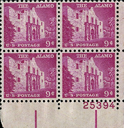 the-alamo-1043-plate-block-of-4-x-9-us-postage-stamps